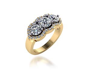 Three Stone Accented Diamond Anniversary Ring