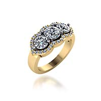 Three Stone Accented Diamond Anniversary Ring 1.04 Carat Total Weight