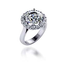 Ladies Halo Design Engagenment Ring 1.8 Carat Total Weight
