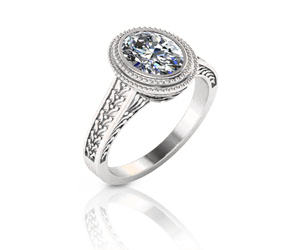 Miligrain and Filigree Halo Diamond Ring