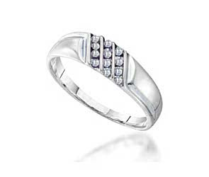 Mens Triple Row Diamond Band<br> .12 Carat Total Weight
