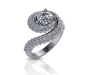 Diamond Swirl Halo Ring