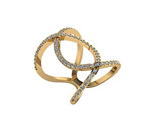 Double Loop Interlock Diamond Ring