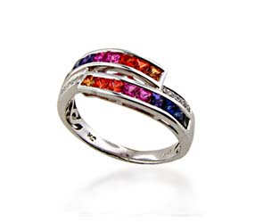 Multi-color Sapphire Ring<br> 1.08 Carat Total Weight