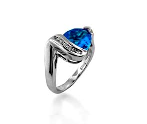 Blue Topaz Ring 2.1<br>  Carat Total Weight