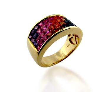 Multi-Color Sapphire Ring 3.52 Carat Weight