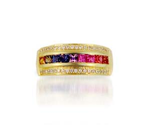 Multi-color Sapphire Ring<br> 9/10 Carat Total Weight