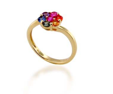 Multi-color Sapphire Ring<br> .77 Carat Total Weight