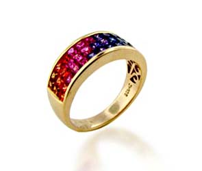 Multi-color Sapphire Ring<br> 2.34 Carat Total Weight
