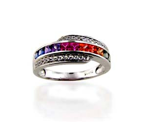 Multi-color Sapphire Ring<br> .88 Carat Total Weight