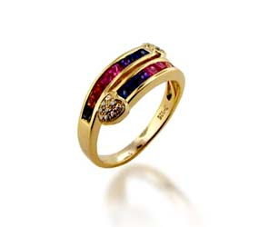 Multi-color Sapphire Ring<br> .96 Carat Total Weight