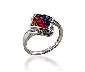Multi-colored Sapphire Ring<br> .96 Carat Total Weight
