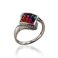 Sterling Silver Multi-colored Sapphire Ring .96 Carat Total Weight