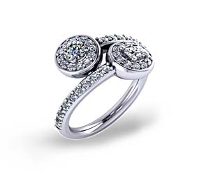 Double Stone Halo Diamond Ring