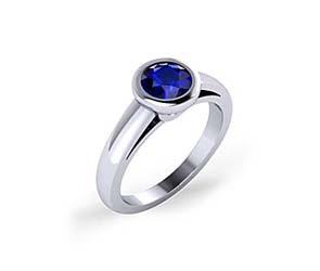 Blue Sapphire Bezel Set Ring