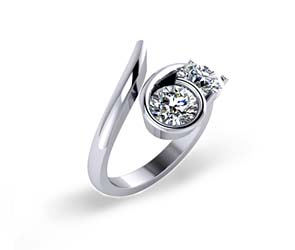 Prong Bezel Curve Two Stone Diamond Ring
