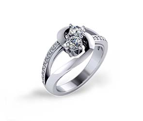 Split Shank Single Row Two Stone Diamond Ring