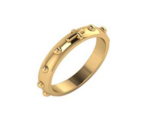 14K Gold Rosary Ring