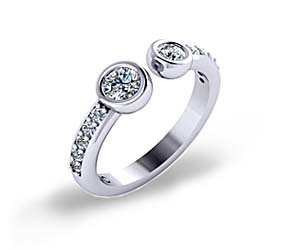Bezel Set Open Two Stone Diamond Ring
