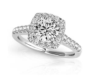 Round Diamond Cushion Fire Side Diamond Ring