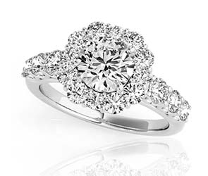 Large Diamond Row Halo Ring