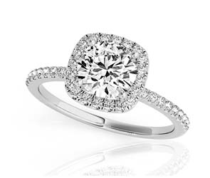 Round Halo Cushion Head Diamond Ring