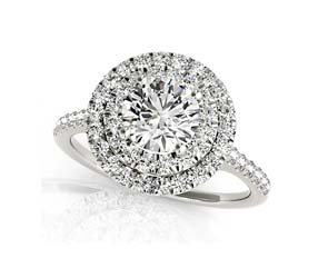 Round Double Halo Diamond Ring