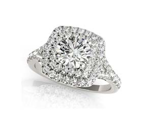 Double Halo Cushion Head Diamond Ring