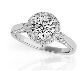 Round Halo Diamond Shank Ring