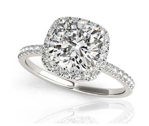 Frosted Acute Cushion Halo Diamond Ring