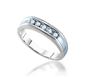 Mens 5 Stone Channel Set Band<br> 1/4 Carat Total Weight