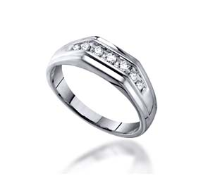 Mens Channel Set 7 Stone Diamond Ring<br> 1/4 Carat Total Weight