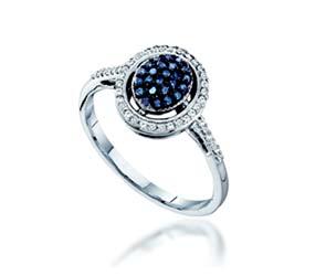 Ladies Blue Diamond Ring<br> 1/4 Carat Total Weight