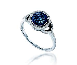 Blue Diamond Fashion Ring<br> 1/4 Carat Total Weight