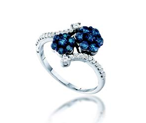 Blue Diamond Flower Ring<br> 3/4 Carat Total Weight