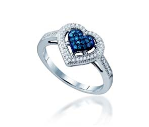 Blue Diamond Heart Ring<br> 1/4 Carat Total Weight