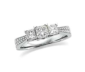 3 Stone Princess Cut Diamond Ring
