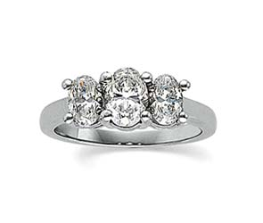Three Stone Oval Cut Diamond Ring