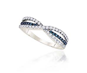Ladies Blue Diamond Fashion Band<br> 1/2 Carat Total Weight