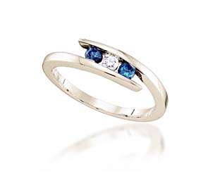 Three Stone Blue Diamond Fashion Band<br> 1/4 Carat Total Weight