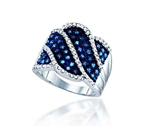 Blue Diamond Ring<br> 3/4 Carat Total Weight