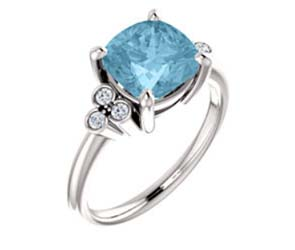 Cushion Cut Aquamarine Diamond Accented Ring