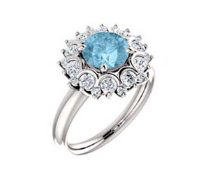 Halo Style Aquamarine Diamond Ring