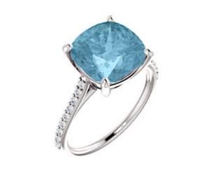Aquamarine Cushion Cut Ring