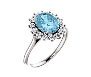 Oval Cut Aquamarine Halo Style Diamond RIng