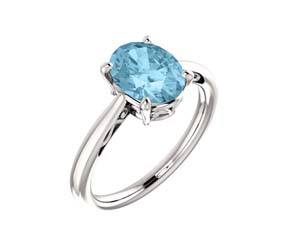 Aquamarine Oval Cut Ring