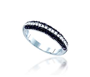 Black and White Diamond Fashion Ring<br> 1/2 Carat Total Weight