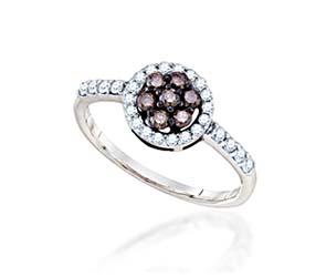 Ladies Champane Diamond Flower Ring<br> 1/2 Carat Total Weight