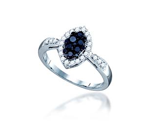 Black Diamond Fashion Ring<br> .56 Carat Total Weight