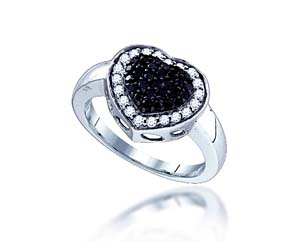 Micro Pave Black Diamond Ring<br> 5/8 Carat Total Weight